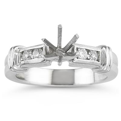 18k White Gold Diamond Engagement Ring with Matching Band