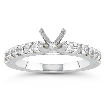 14k White Gold Prong Set Diamond Engagement Ring with Matching Band