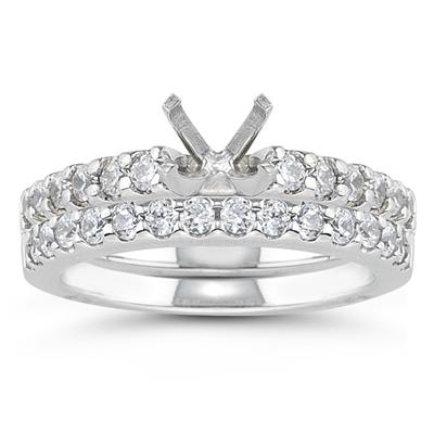 18k White Gold Prong Set Diamond Engagement Ring with Matching Band