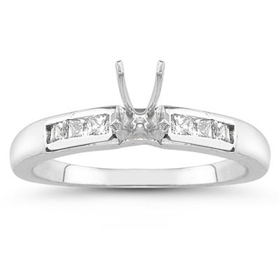 14k White Gold Channel Set Princess Engagement Ring with Matching Band