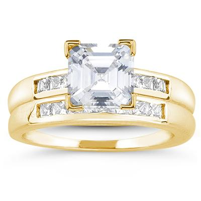 14k Yellow Gold Channel Set Princess Engagement Ring with Matching Band