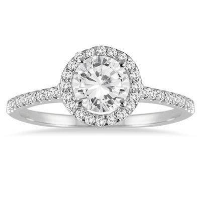 Diamond Halo Ring in 14K White Gold