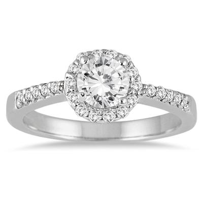 Halo Diamond Engagement Ring in 14K White Gold