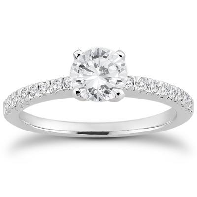 Diamond Fishtail Pave Ring in 14K White Gold