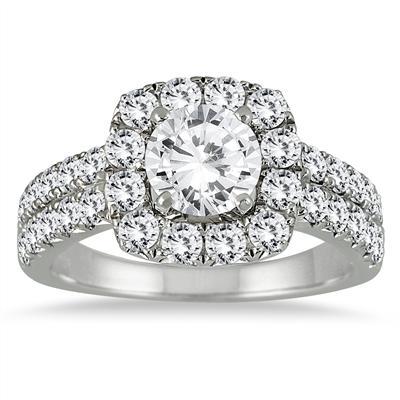 White Diamond Halo Engagement Ring in 14K White Gold