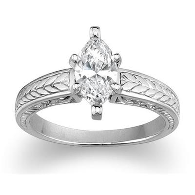 Antique Engraved Engagement Ring Setting in Platinum