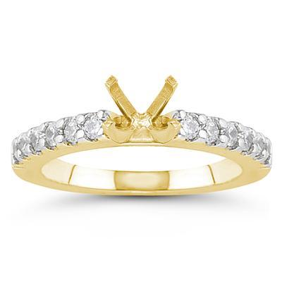 14k Yellow Gold Prong Set Diamond Engagement Ring