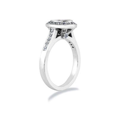 14k White Gold Bezel  Set Engagement Ring