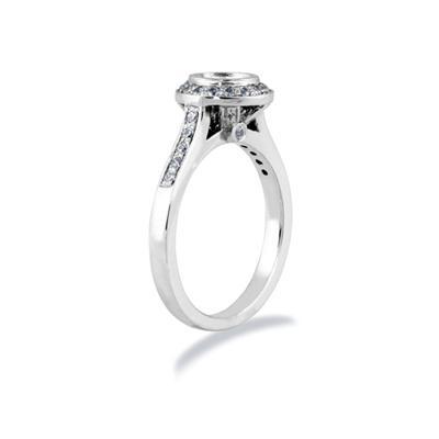 18k White Gold Bezel  Set Engagement Ring