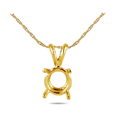 18K Yellow Gold Prong Set Solitaire Pendant Setting