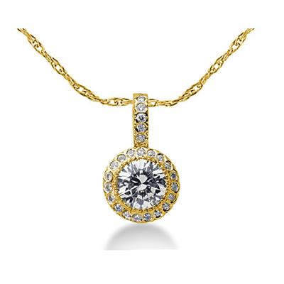 Prong Set Round diamond with side stone Pendant Setting in 14K Yellow Gold