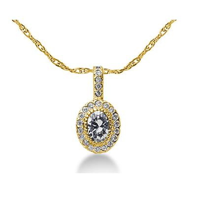 Prong Set Oval diamond with side stone Pendant Setting in 14K Yellow Gold