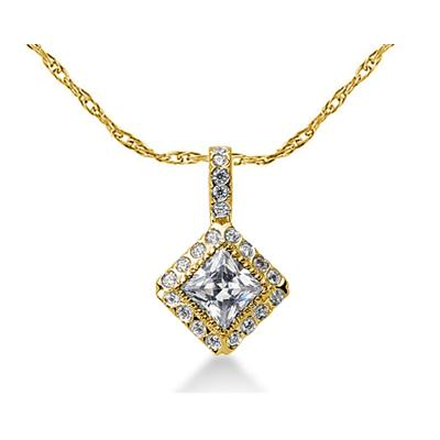 Prong Set Princess diamond with side stone Pendant Setting in 14K Yellow Gold