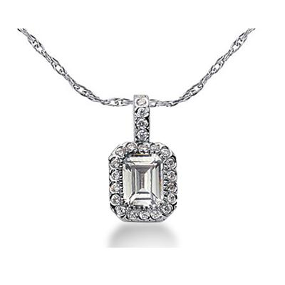 Prong Set Emerald diamond with side stone Pendant Setting in 14K White Gold