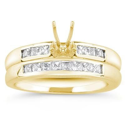 18k Yellow Gold Channel Set Princess Engagement Ring with Matching Band
