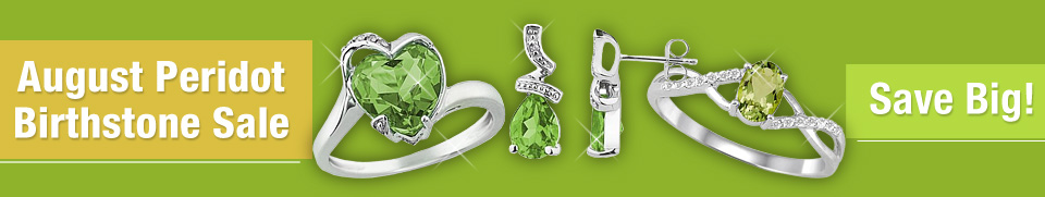 August Peridot Birthstone Jewelry