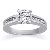 Channel Set Diamond Egagement Ring Setting in White Gold