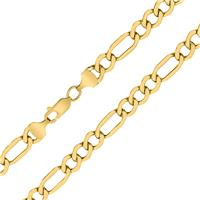 14K Yellow Gold 6.5mm Diamond Cut Oval Figaro Chain with Lobster Clasp - 18 Inch