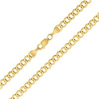 14K Yellow Gold 4.4mm Oval Curb Chain with Lobster Clasp - 22 Inch