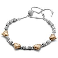 Two Toned Heart Shimmer Bolo Bead Bracelet in .925 Sterling Silver