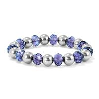 Purple Crystal Beaded Ball Bracelet in .925 Sterling Silver