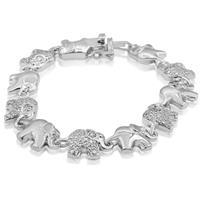 Diamond Accent Elephant Bracelet In White Gold Overlay