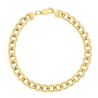 14K Yellow Gold Filled 7.4MM Curb Link Bracelet with Lobster Clasp