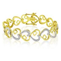 Deals on Two Tone Diamond Accent Love Heart Diamond Bracelet