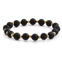 Deals on Crucible Black Lava Stone Gold IP Beaded Stretch Bracelet 8mm