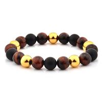 Red Tiger's Eye and Matte Onyx Stone and Gold IP SS Bracelet (10mm)