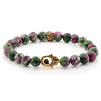 Anyolite Stone Gold IP SS Hamsa Beaded Stretch Bracelet (8mm)