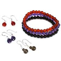 6MM-6.5MM Women's Smokey Quartz, Carnelian and Amethyst Stone Beaded Bracelet and Earring Set (Set of 3)