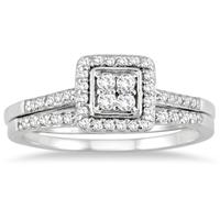 1/3 Carat TW Diamond Bridal Ring Set in 10k White Gold