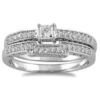 1/2 Carat TW Princess Diamond Bridal Set in 10K White Gold