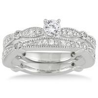 4/5 Carat TW Diamond Engagement Bridal Set in 10K White Gold