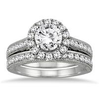 AGS Certified 2 Carat TW Diamond Halo Bridal Set in 14K White Gold (H-I Color, I1-I2 Clarity)