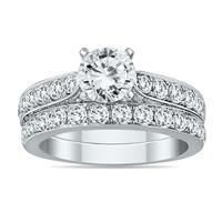AGS Certified 2 1/2 Carat TW Diamond Bridal Set in 14K White Gold (I-J Color, I2-I3 Clarity)