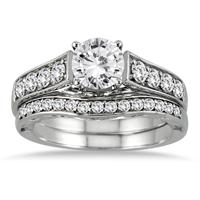 AGS Certified 1 3/4 Carat TW Diamond Antique Bridal Set in 14K White Gold (I-J Color, I2-I3 Clarity)