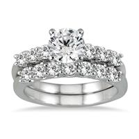 AGS Certified 1 7/8 Carat Diamond Bridal Set in 14K White Gold (I-J Color, I2-I3 Clarity)