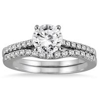 AGS Certified 1 Carat TW Diamond Bridal Set in 14K White Gold (J-K Color, I2-I3 Clarity)