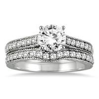 AGS Certified 1 1/4 Carat TW Diamond Antique Bridal Set in 14K White Gold (I-J Color, I2-I3 Clarity)