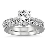 AGS Certified 1 1/2 Carat Pave Diamond Bridal Set in 14K White Gold (I-J Color, I2-I3 Clarity)