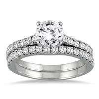 AGS Certified 1 1/4 Carat TW Diamond Bridal Set in 14K White Gold (J-K Color, I2-I3 Quality)