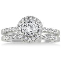 AGS Certified 1 1/8 Carat TW Halo Diamond Bridal Set in 10K White Gold (J-K Color, I2-I3 Clarity)