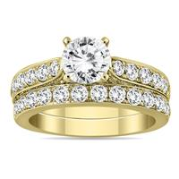 AGS Certified 2 1/2 Carat TW Diamond Bridal Set in 14K Yellow Gold (H-I Color, I1-I2 Clarity)