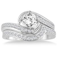 AGS Certified 1 3/8 Carat Diamond Bridal Set in 14K White Gold (I-J Color, I2-I3 Clarity)