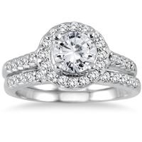 AGS Certified 1 1/2 Carat Diamond Halo Bridal Set in 14K White Gold (H-I Color, I1-I2 Clarity)