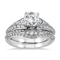 AGS Certified 1 1/2 Carat Diamond Bridal Set in 14K White Gold (I-J Color, I2-I3 Clarity)