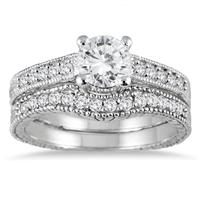 AGS Certified 1 Carat TW White Diamond Bridal Set in 14K White Gold (I-J Color, I2-I3 Clarity)