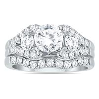 AGS Certified 2 1/5 Carat Diamond Bridal Set in 14K White Gold (H-I Color, I1-I2 Clarity)